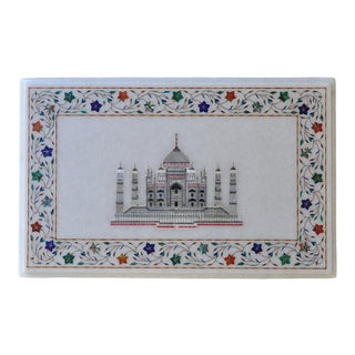 Mother of Pearl Taj Mahal and Pietra Dura Floral Inlay on White Marble Panel For Sale
