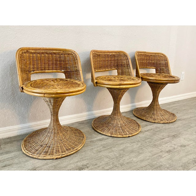 Mid-Century Modern Mid Century Modern Danny Ho Fong Woven Rattan Swivel Chairs - Set of 3 For Sale - Image 3 of 7