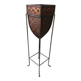 Vintage Boho Chic Hammered Metal, Wood & Rattan Planter With Stand For Sale