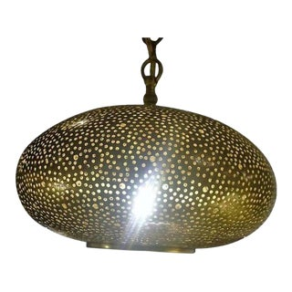 Small Oval Brass Pendant Chandelier For Sale