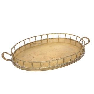 Oversized Faux Bamboo Oval Brass Serving Tray