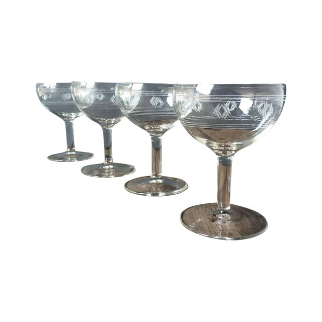Vintage 1940s Etched Champagne Glasses - Set of 4 - Image 1 of 4