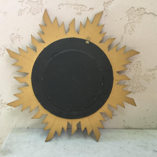 Mid-Century Modern French Gilded Wood Convex Sunburst Mirror For Sale - Image 3 of 4