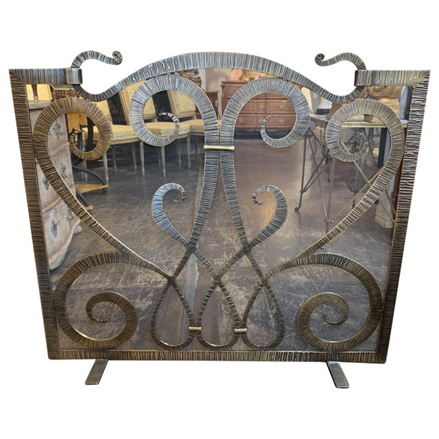 Custom Steel Fire Place Screen in Gilded Black Finish For Sale In Dallas - Image 6 of 6