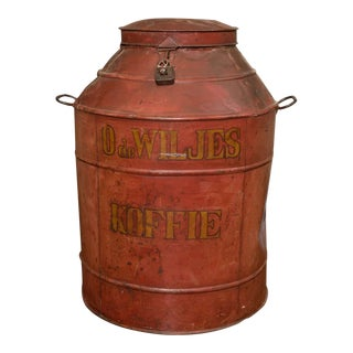 1850 Dutch Red Tole Painted Coffee Tin For Sale