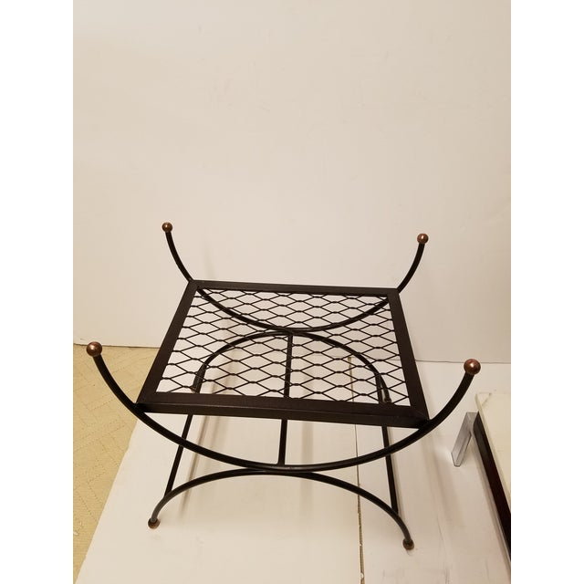 Hollywood Regency Neoclassical Salterini Style Iron & Brass Bench - Image 2 of 5
