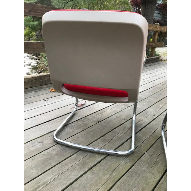 Steelcase Vintage Chrome and Red Fabric Cantilever Steelcase Arm Chairs- a Pair For Sale - Image 4 of 10