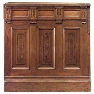 "American Victorian Walnut Carved 14 Section Panels With 54"" Dado For Sale"