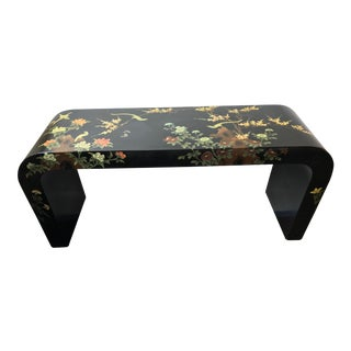 Mid-Century Asian Hand Painted Chinoiserie Waterfall Lacquered Console