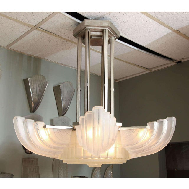 Art Deco Large and Important Art Deco Chandelier by Sabino For Sale - Image 3 of 9