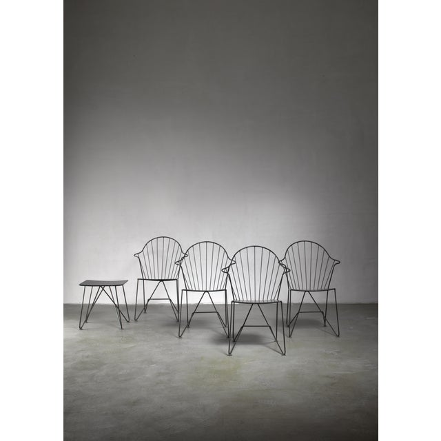 Mannhardt-Stahlmöbel Set of Four Chairs and a Table, Germany, 1950s For Sale - Image 4 of 6