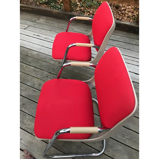 Metal Vintage Chrome and Red Fabric Cantilever Steelcase Arm Chairs- a Pair For Sale - Image 7 of 10