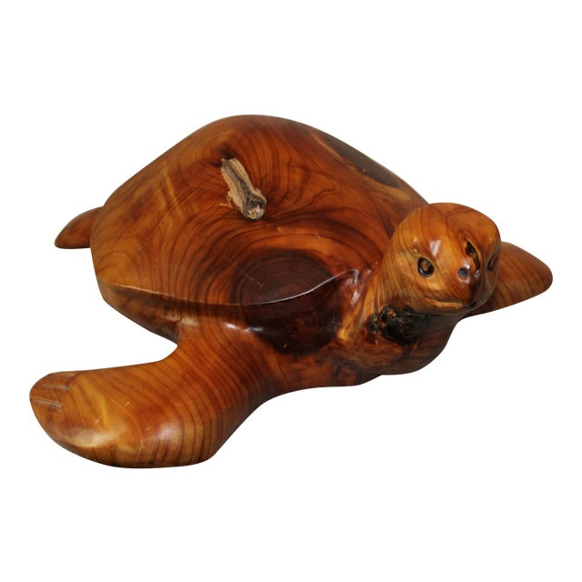 Don & Gis Rutledge Carved Wood Turtle For Sale