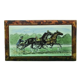 Paul Brown Stride for Stride' Trotters Enamel Plaque Mounted on Leather Cigarette Box For Sale