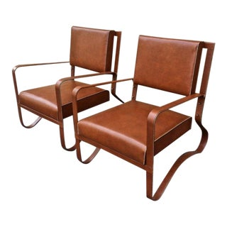 Jacques Adnet Pair of Rare Lounge Chairs in Hand-Stitched Leather For Sale
