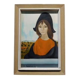 Jean-Pierre Serrier -Portrait of a Modern Mona Lisa -1960s Surrealist Oil Painting For Sale