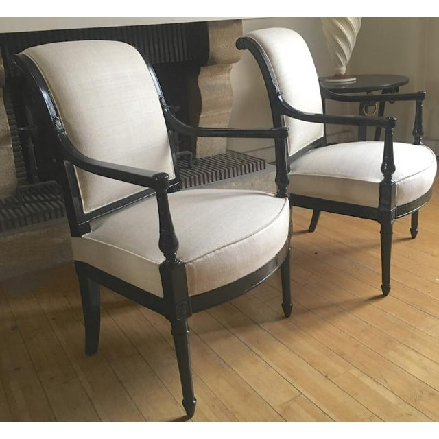 White Maison Jansen Pair of Neo Classic Pair of Chic Blackened Wood For Sale - Image 8 of 8