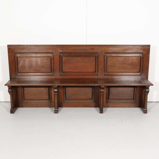 Gothic 19th Century French Gothic Revival Period Church Pew or Hall Bench For Sale - Image 3 of 13
