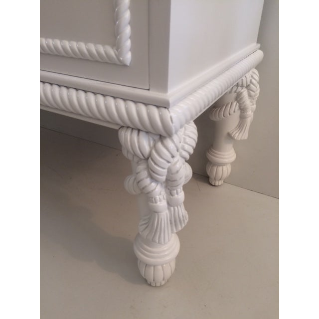 1960s Hollywood Regency White Commode With Tassel Legs For Sale - Image 9 of 13