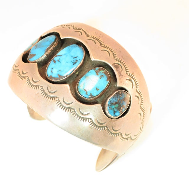 Traditional Native American Zuni Turquoise & Sterling Cuff Bracelet, Mabel Watson 1970s For Sale - Image 3 of 12