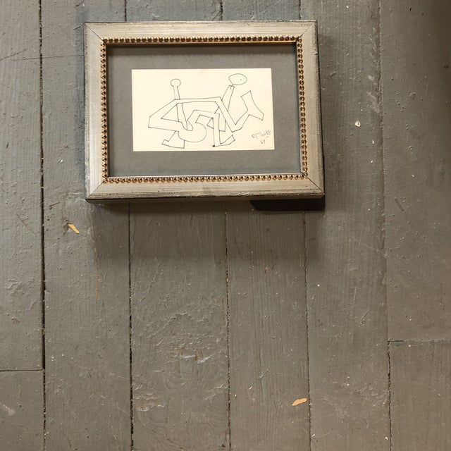1960s Original Vintage Robert Cooke Miniature Abstract Ink Drawing Framed 1960's For Sale - Image 5 of 5