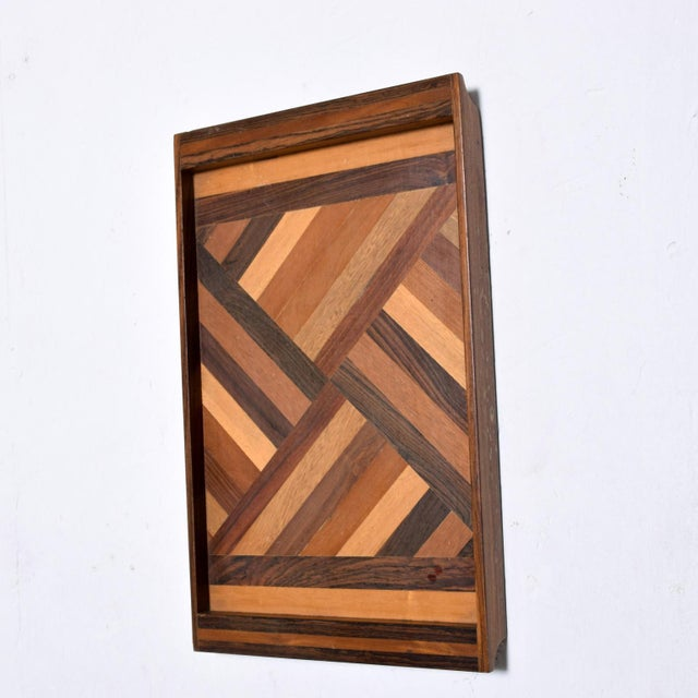 We are pleased to offer for your consideration a Mid Size service tray by Don S Shoemaker. Beautiful geometric woodwork...