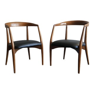 Pair of Sculptural Walnut Lawrence Peabody Armchairs For Sale