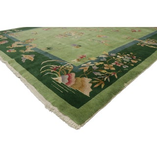 Green Antique Chinese Art Deco Rug - 7′8″ × 8′9″ Preview