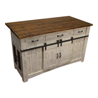 Crafters and Weavers Greenview Kitchen Island - Distressed White For Sale