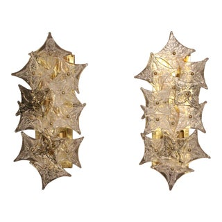 Pair of Sconces in Murano Glass Plaques in the Style of Barovier For Sale