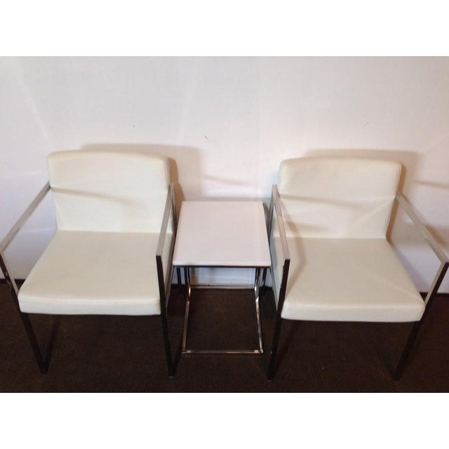 White Leather and Chrome Chairs and Table - S/3 - Image 5 of 6