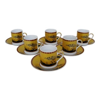 Porcelain Demitasses & Saucers - 12 Pieces For Sale
