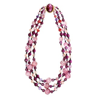 1950/60s Vintage Multi Strand Pink and Purple Necklace With Jeweled Clasp For Sale