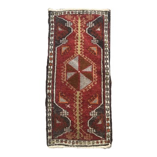 "Hand Made Vintage Nomadic Boho Style Turkish Runner Mat 1'8""x3'7"" For Sale"