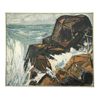 Modernist Coastal Landscape Impasto Rock Ledge Painting Signed A. Seide '66 For Sale