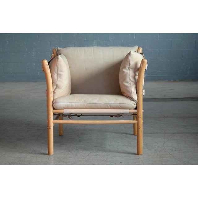 Primitive Arne Norell Safari 1960s Chair Model Ilona in Cream and Tan Leather For Sale - Image 3 of 11