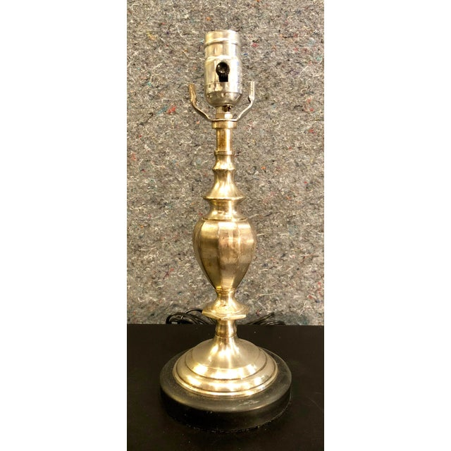 20th Century Traditional Silverplate Lamp on Black Marble Base For Sale - Image 9 of 9