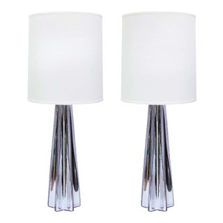 Modernist X-Form Lavender Hand Blown Murano Mercury Glass Table Lamps - A Pair For Sale