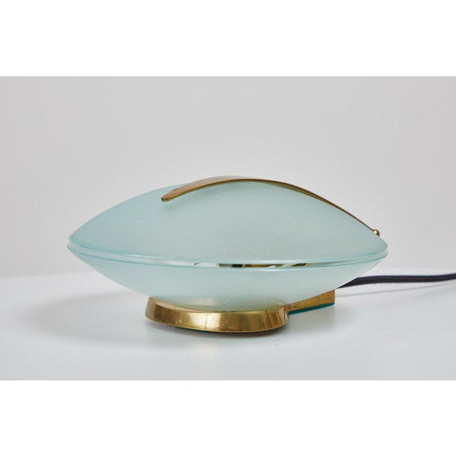 1960s Vintage Max Ingrand for Fontana Arte Glass and Brass Shell Table Lamp For Sale - Image 10 of 13