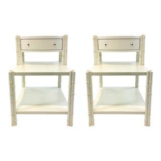 Celerie Kemble for Henredon Modern Bamboo White Wood Side Tables Pair For Sale
