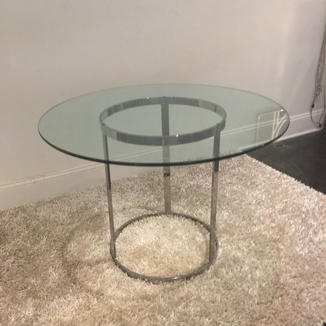 Contemporary Milo Baughman for d.i.a. Glass Top Chrome Table For Sale - Image 3 of 9