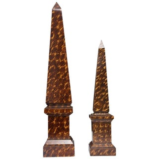 Faux Tortoise Hand-Painted Obelisks For Sale