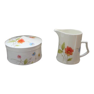 """1970s Mikasa """"Just Flowers"""" Creamer and Sugar Bowl With Lid - a Pair For Sale"""