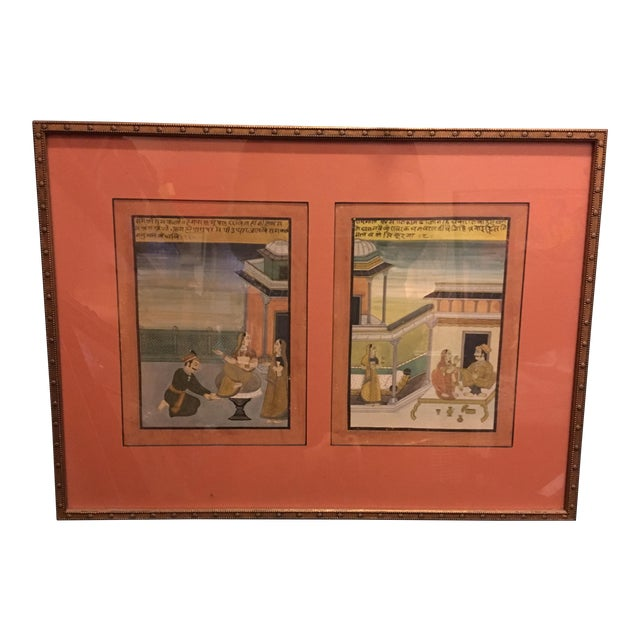 19th Century Mughal Framed Diptych Painting - Image 1 of 7