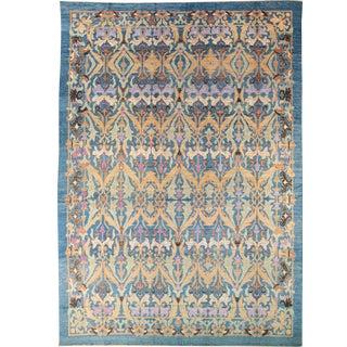 Oversize Modern Oushak Handmade Floral Pattern Blue Wool Rug For Sale