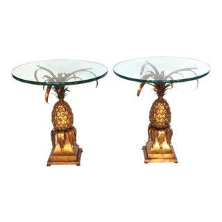 Hollywood Regency Gold Gilt Tole Pineapple Side Tables - Set of 2