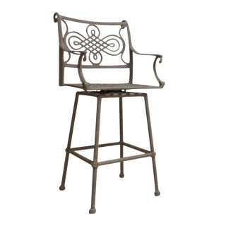 2 Woodard Landgrave Cast Classics Aluminum Outdoor Bar Stool Pair For Sale