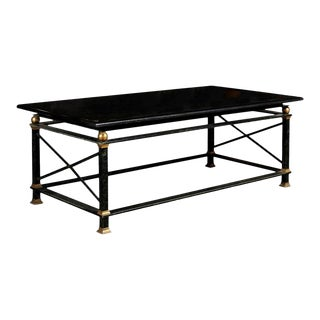 French Parisian Coffee Table with Black Marble Top, Iron Base and Brass Accents For Sale