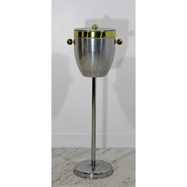 Art Deco Aluminum and Brass Standing Champagne Ice Cooler For Sale - Image 10 of 10