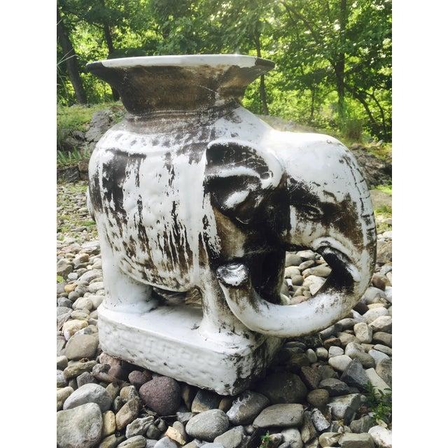 Glazed Ceramic Elephant Garden Stool / Side Table - Image 2 of 7